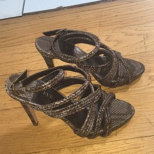 Furla animal skin leather platform heels